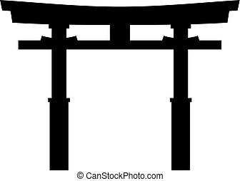 japonés, tradicional, santuario, torii, shinto, puerta