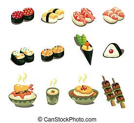 japonês alimento, jogo, caricatura, ícone