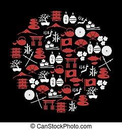 japonština, červené šaty i kdy běloba, ikona, do, kruh, eps10