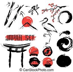 japonština, sumie, čerň nátěr, ikona, dát