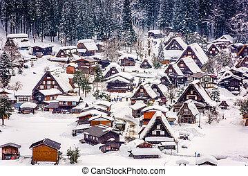 japonština, zima, vesnice