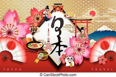 japon, concept, affiche