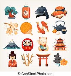 japon, ensemble, apparenté, icons.