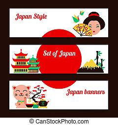 japon, ensemble, bannière