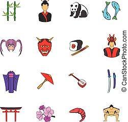 japon, ensemble, dessin animé, icônes