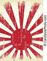 japon, grunge, drapeau