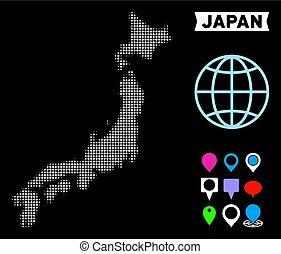 japon, halftone, point, carte