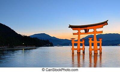 japon, itsukushima, torii, miyajima, portail