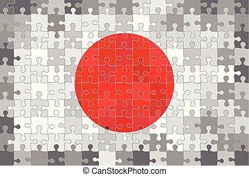 japon, puzzle, fait, drapeau, background.eps