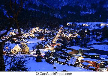 japon, shirakawago, haut, lumière, héritage, mondiale