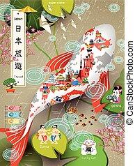 japon, voyage, affiche