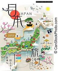 japon, voyage, carte