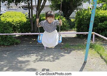 japonaise, (4, années, balançoire, old), girl