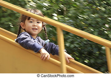japonaise, (4, années, diapo, old), girl