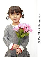 japonaise, (4, années, old), girl, fleurs