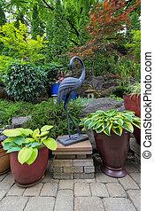 japonaise, arrière-cour, conception, jardin, landscaping