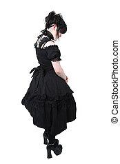 japonaise, coupure, gosurori, gothique, sentier, mode, lolita