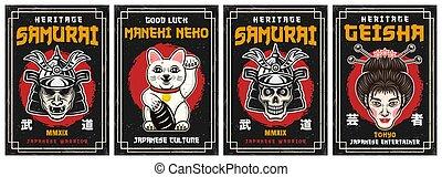 japonaise, ensemble, affiches, décoratif, vecteur, culture