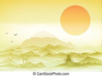 japonaise, fond, paysage