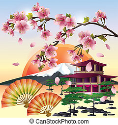 japonaise, fond, sakura