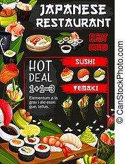 japonaise, fruits mer, restaurant, cru, plats, affiche