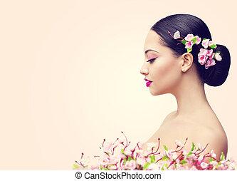 fille femme maquillage figure mode cheveux noirs photographie de stock rechercher. Black Bedroom Furniture Sets. Home Design Ideas