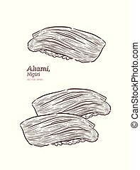 japonaise, maguro, nourriture., nigiri, (akami), sushi