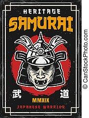 japonaise, masque, coloré, vendange, style, samouraï, ...
