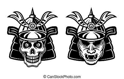 japonaise, masque, guerrier, vecteur, samouraï, crâne
