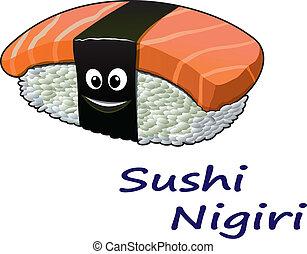 japonaise, nigiri sushi, fruits mer