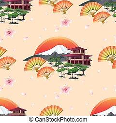 japonaise, paysage, fond, résumé, ventilateurs