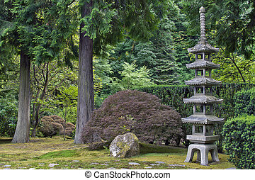 japonaise, pierre, pagode, 2