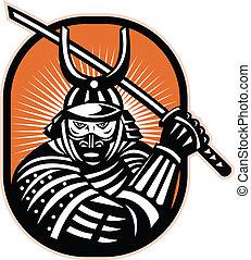 japonaise, samouraï, guerrier, épée, retro