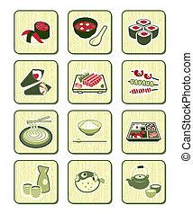 japonaise, sushi-bar, icônes,  , bambou