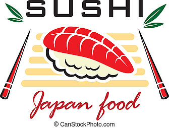 japonaise, sushi, fruits mer, emblème