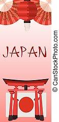 japonaise, symboles, affiche