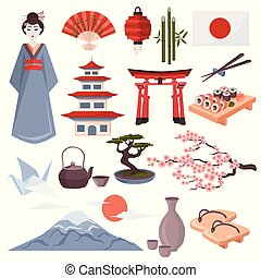 japonaise, symboles, ensemble