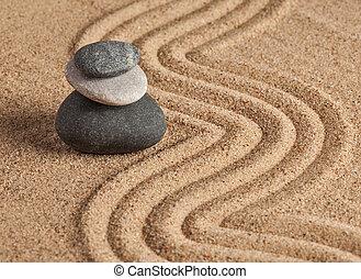 japonaise, zen, jardin pierre