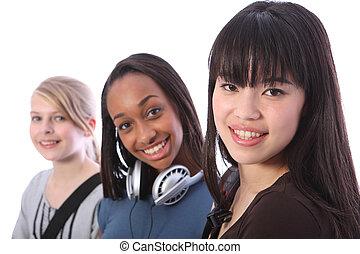 japoneses, adolescente, estudante, menina, com, escola, amigos