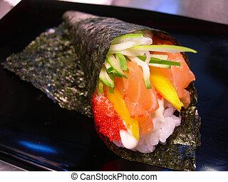 japoneses, alimento., closeup, alimento japonês, cobrança