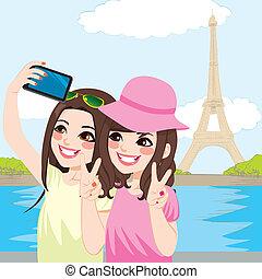 japoneses, amigos, paris, selfie