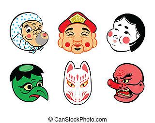 japoneses, cômico, máscaras