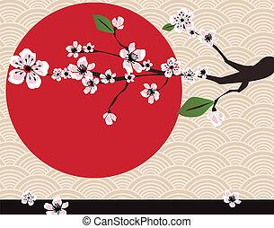 japoneses, cartão, com, flor cereja