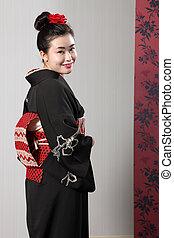 japoneses, costas, quimono, asiático, modelo, feliz, vista