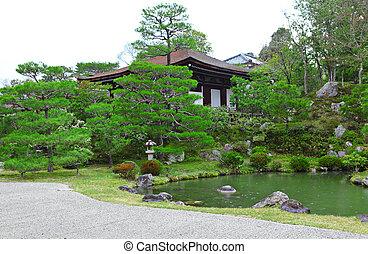 japoneses, estilo, jardim