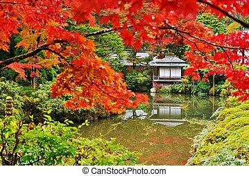 japoneses, estilo, jardins