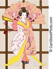 japoneses, geisha, com, ventilador
