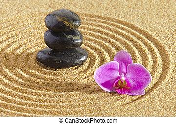 japoneses, jardim zen