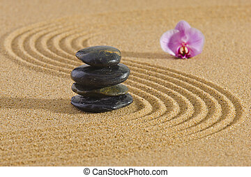 japoneses, jardim zen, com, empilhado, pedras