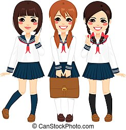 japoneses, meninas escola, uniforme